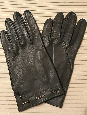 Vintage Gray Leather Gloves, Great Condition, Soft Leather Size 8, Made In Italy