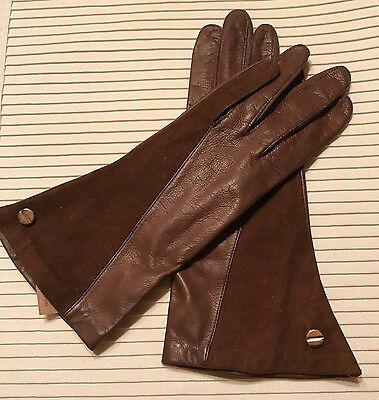 Vintage Ann Klein Brown Leather & Cowhide Gloves, Great Condition, Size 7, Mint