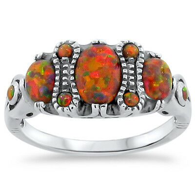 Antique Victorian Style .925 Sterling Silver Red Lab Opal Ring Size 8,      #252