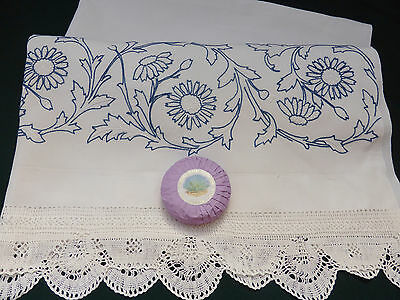 Large Antique Linen Quest Towel-Hand Embroidered Thistles-Lace Edged