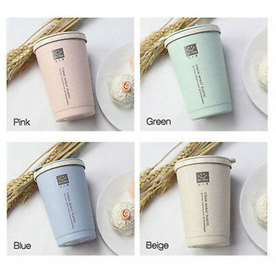 280ML Double-wall Insulation Wheat Fiber Straw Coffee Cup Travel Mug Leakproof H