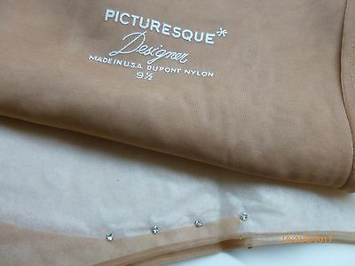 "33"" x 9.5"" Vintage RHINESTONE PICTURESQUE Seamed STOCKINGS RARE"