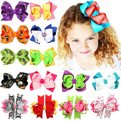 Girls Baby Large Double Layers Hairbow Hair Bows Bowknot Grosgrain Ribbon Clip