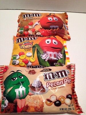 X 3 M&M's Halloween Pumpkin Pie & Candy Corn White & Pecan Pie Milk Chocolate
