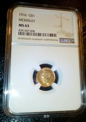 MCKINLEY 1916 Gold Commemorative G$1  GOLD DOLLAR NGC MS63
