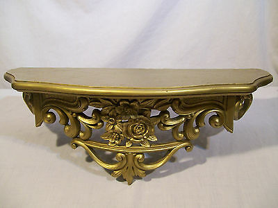 Home Interiors Homco Gold Shelf with Roses Hollywood Regency Retired