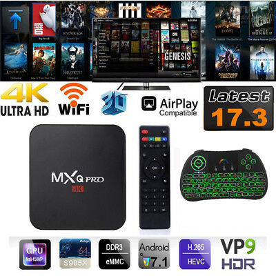 4K 3D Android 7.1 1GB+8GB WiFi USB For MXQ PRO TV Box+ Keyboard AU Stock