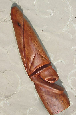 Pacific Wood Statue Figurine Totem Stylized Face Oceania Hand Carved 26CmT