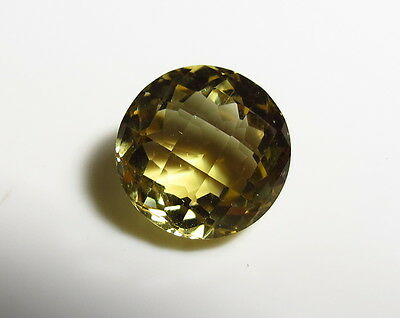 13mm NATURAL YELLOW CITRINE polished ROUND CHECKERBOARD CUT FACETED GEMSTONE