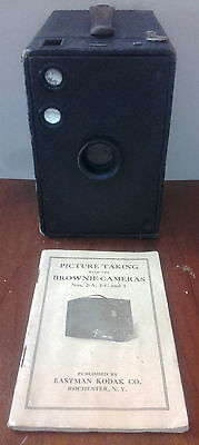 Box Brownie Camera 2A with Instruction Manual.