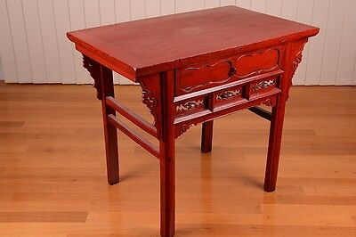 Asian antique red lacquered table