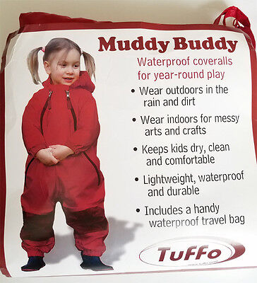 Tuffo Muddy Buddy Waterproof Coveralls Rain Suit size 18 months RED, NEW