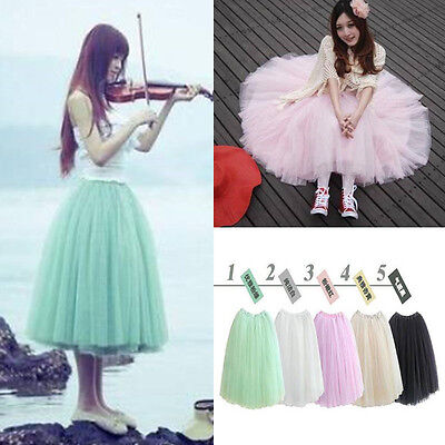 Women Girls Sweet 5 Layers Tutu Skirt Princess Petticoat Ballet Tulle Long Dress