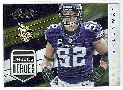 Chad Greenway 2016 Absolute Football Unsung Heroes Insert Card