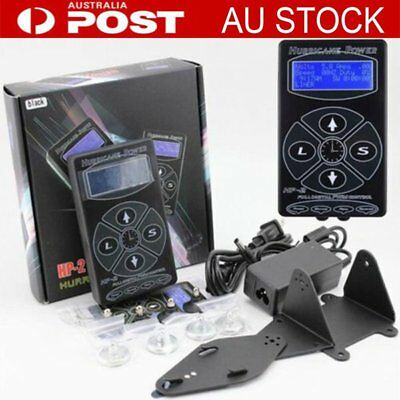 Hurricane Digital LCD Tattoo Power Supply For Dual Gun Clip Pedal Kit Black KO