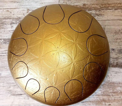 Die goldene Rose Trommel HandPan Drum Steel Stahl Tongue 30 cm Ethno Handmade