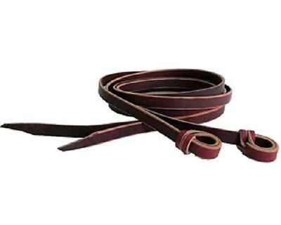 "Split Latigo Leather Reins with loops - 3/4"" x 8' Long - Imp USA"