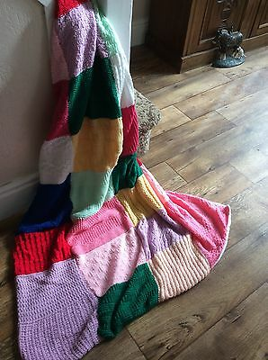 Vintage patchwork knitted trow blanket