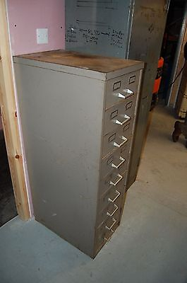 Large Vintage Metal Filing Cabinet / Industrial Tool Chest - Sliding Drawers