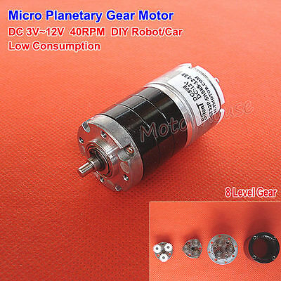 Micro Planetary Gearbox Gear Motor DC 3V~12V 40RPM Slow Speed Low Consumption
