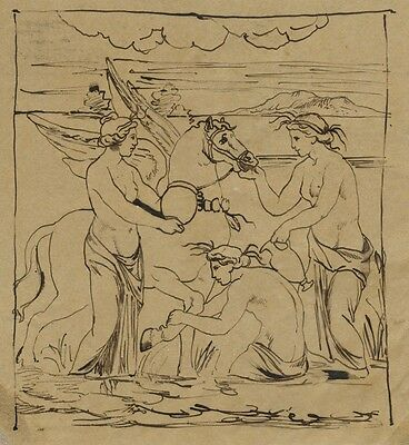 Bellerophon and Pegasus - Original late 19th-century pen & ink drawing