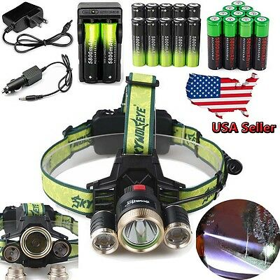 Tactical 40000LM 3x XM-L T6 LED Headlamp Torch Lamp HeadLight 18650 Charger USA
