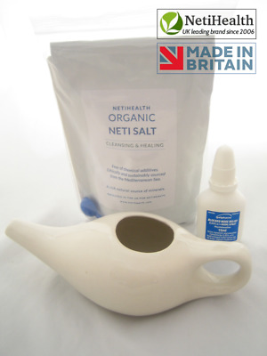 Ceramic Neti Pot + 300g Organic Neti Salt. Nasal Irrigation Health ~ UK BASED