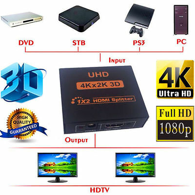 1 In 2 Out HDMI Splitter 1x2 Repeater Amplifier Duplicator 4K Full HD 1080P 3D