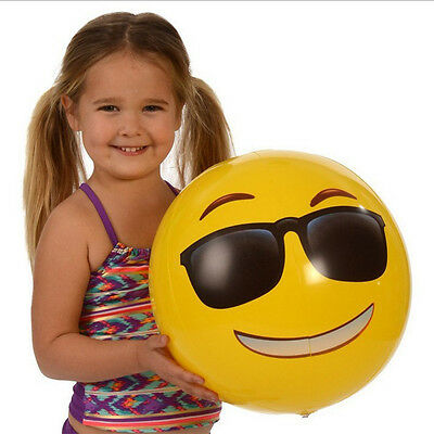 2pcs/set Yellow Emoji Smiley Water Float Kids Adult Inflatable Toy Beach Ball
