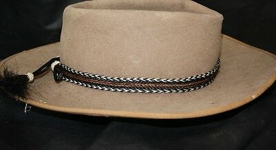 Hand Braided Horsehair Hat Band with Brown Strip