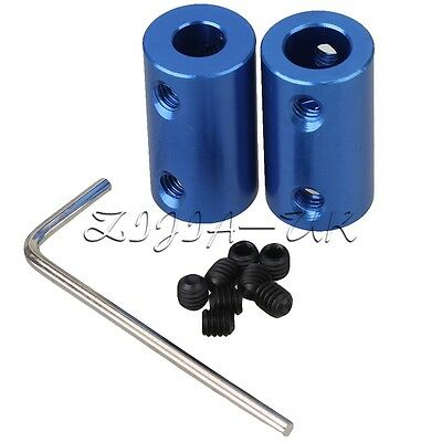 2pcs 6.35mm to 8mm Blue Aluminum Shaft Coupling Motor Rigid Coupling Coupler