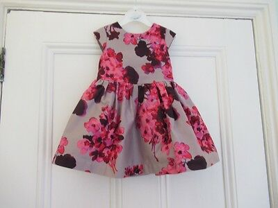 12-18m: Lovely party/special occasion dress: Grey + pink flowers: John Rocha