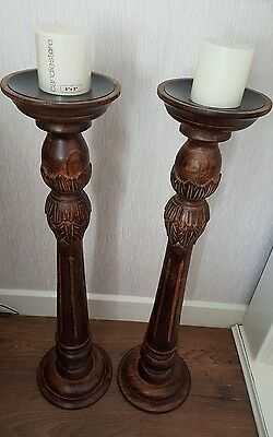 """2 large heavy dark  wooden candle sticks candle holders 30"""" high beautiful"""