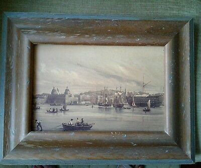 "Antique Oil Painting on Board 10""x7"" Harbour Scene"