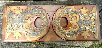 VICTORIAN. Bookstand Folding with Brass Floral Inlay at the Ends. c1890.