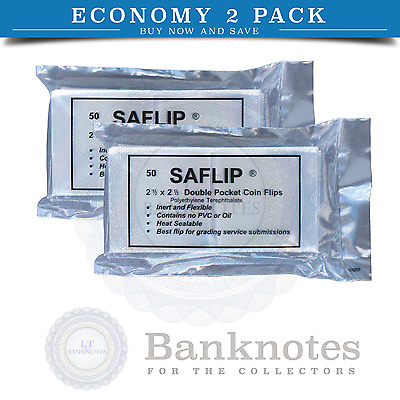 100 Coin Flips Saflip 2.5 x 2.5 Museum Quality 2 Pocket Double + Paper INSERTS