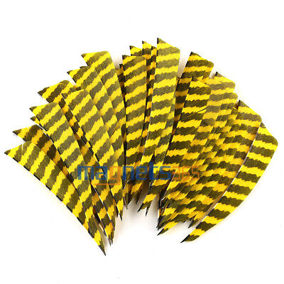 "50Pcs 4"" Shield Striped Fletching Natural Turkey Feathers Right Wing Arrow Vane"