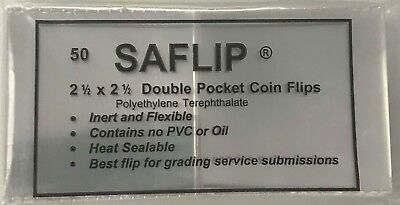 Coin Collecting Flips Saflip Saflips 2.5 x 2.5 Mylar 50 Archival + INSERTS FREE