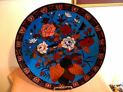 A Beautiful Vintage Japanese Cloisonne Charger - Bird And Flowers - 12""