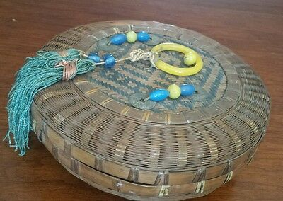 Chinese Sewing Basket Authentic Signed Blue Yellow Glass Beads and Ring