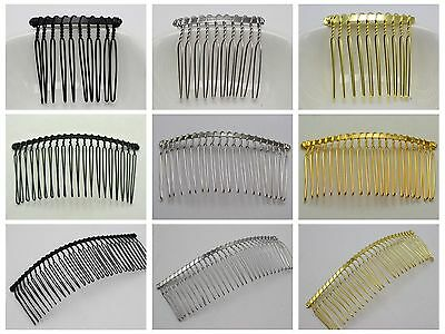 Black,Silver, Gold Tone Metal 10-Teeth, 20-Teeth, 30-Teeth Hair Side Combs Clips
