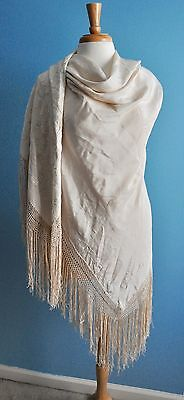 Antique White Victorian Silk Embroidered Chinese Piano Shawl