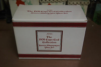 Vintage 1991 Avon Cape Cod Ruby Red Set of 2 Saucer  Champagne glass orig box