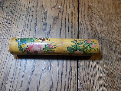 Antique Victorian Mauchline Ware Reel Needle Case Hand Painted Floral Spool