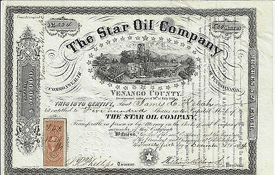 PENNSYLVANIA 1864 The Star Oil Company Stock Certificate Venango County Early