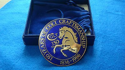 "Colt Firearms belt buckle  ""150 YEARS OF COLT CRAFTSMANSHIP  1836-1986"""