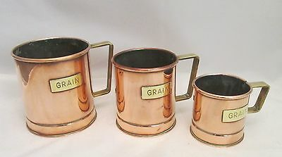 A Good Set of 3 Vintage Copper & Brass Grain Measures - c1900 - Kitchenalia