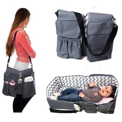 3 In 1 Baby Care Bag Travel Portable Bassinet Bed Crib w/ Storage Waterproof Pad