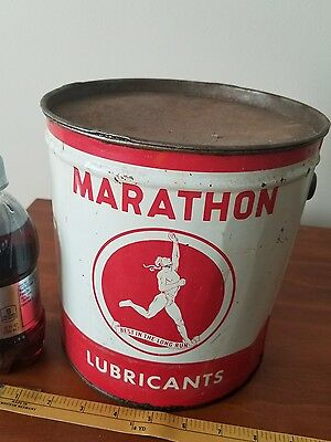 Empty 10lb MARTHON lubricant metal oil can petroleum gas collectible auto