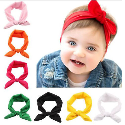 10PCS Kids Girls Baby Headband Toddler Turban Knot Rabbit Hair Band Accessories